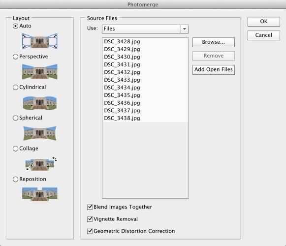 Create Panorama on PhotoShop