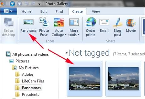 Create Panorama on Windows Photos Gallery
