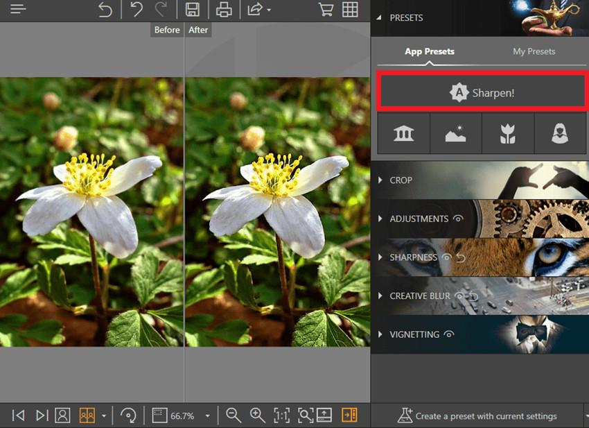 Aplicaciones para arreglar fotos borrosas - Herramienta de Enfoque