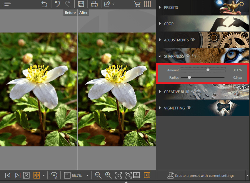 Aplicaciones para arreglar fotos borrosas - Nitidez