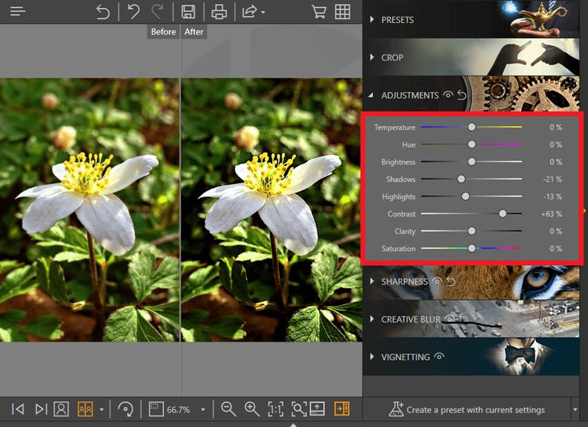 Aplicaciones para arreglar fotos borrosas - Ajuste