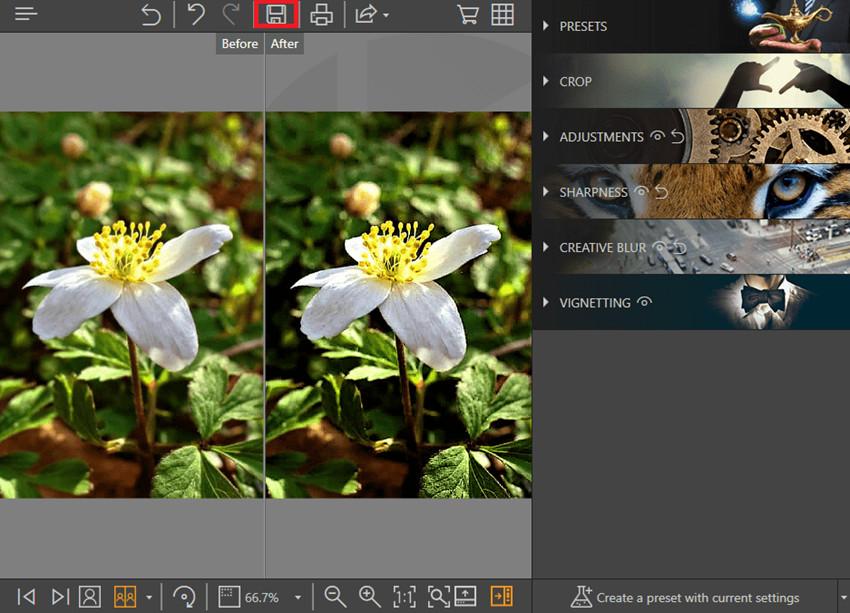 Aplicaciones para arreglar fotos borrosas - Guardar cambios