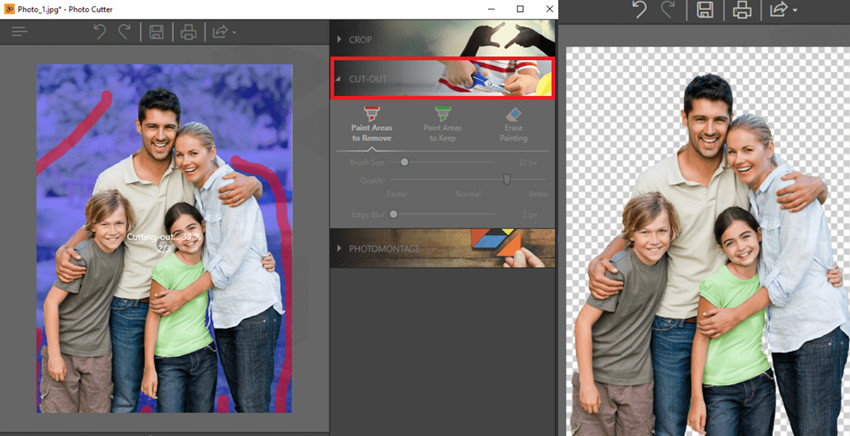 Change Background of Photo in Photoshop Online - Sleect Cut Out Tool