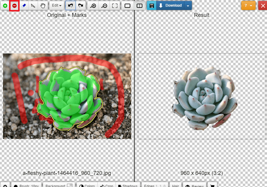 Change Background of Photo in Photoshop Online - Highlight Areas to Delete