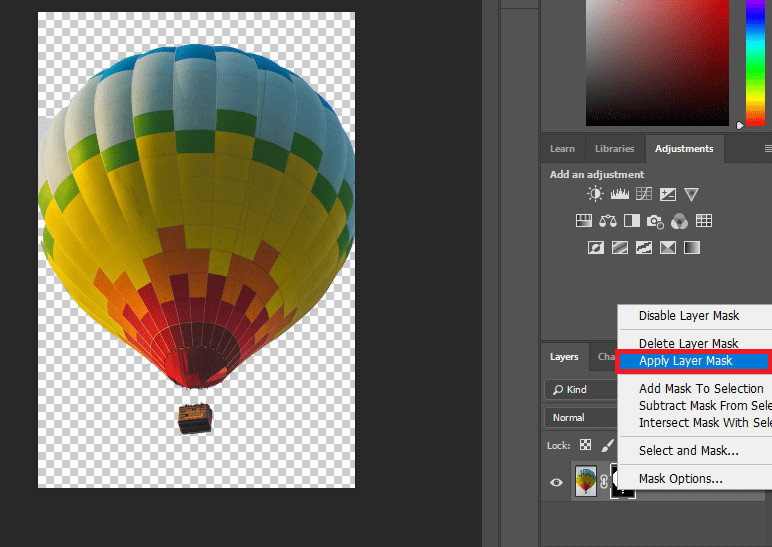 Changer Photo Background in Photoshop - Applying the Mask