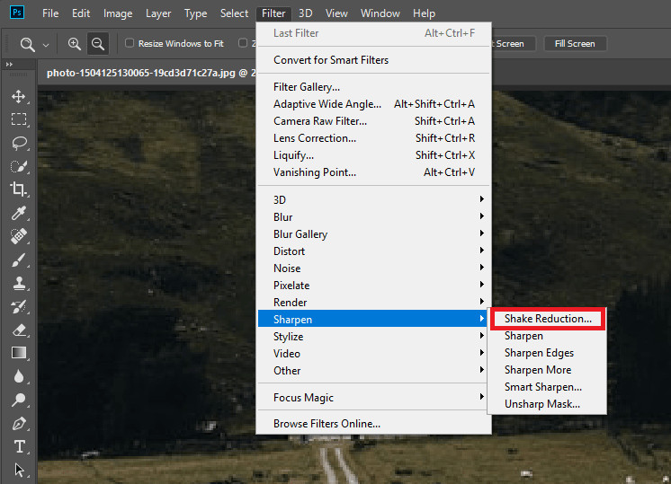 Enhance a Blurry Photo - Choose Sharpen to Shake Reduction