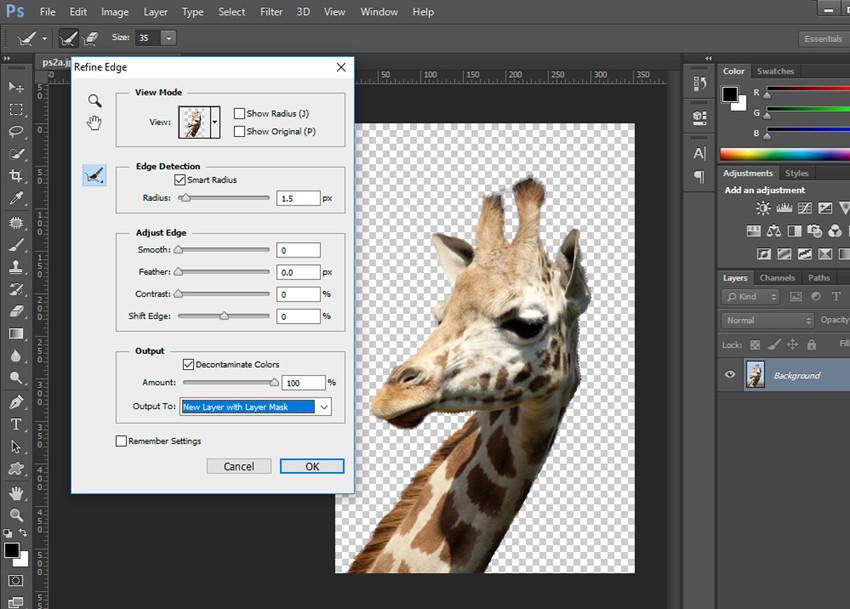 Remove Background from Image - Refine Edge