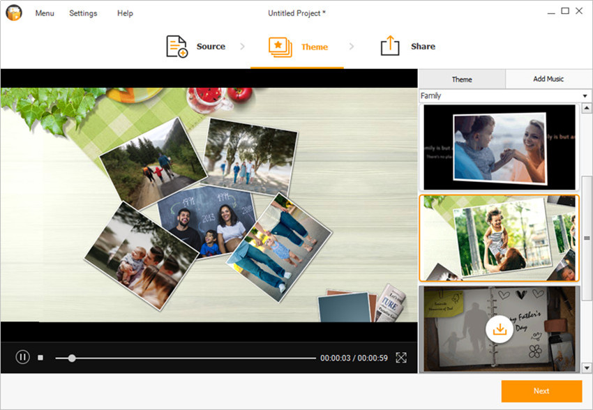 Make a Panorama Photo Slideshow - Select a Theme for Your Slideshow