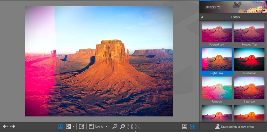 Photo Light Effects - Choose the Light Leak Effect