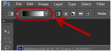 Rainbow Effect -Click on Gradient Tool on the Toolbar to Open the Gradient Editor Toolbox
