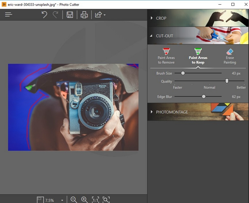 Photoshop Background Effect- Click the Cut Out Module