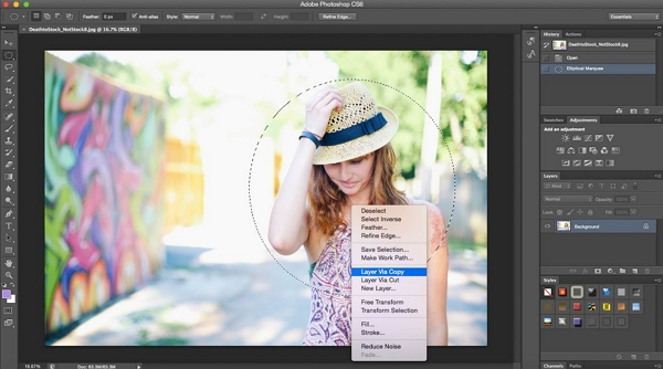 How to Make Instagram Profile Picture - Click the Layer Via Copy Option