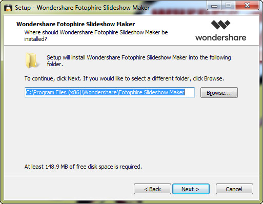 Install Fotophire Slideshow Maker - Customize Target Folder of Your Program