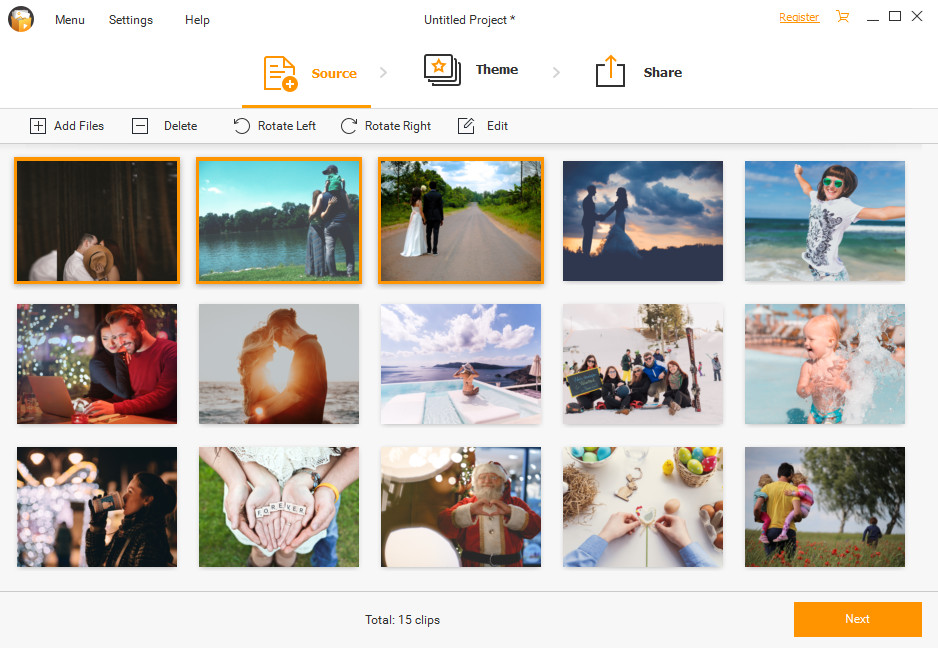 Make a Slideshow with Fotophire Slideshow Maker on Windows - Delete or Rotate Files