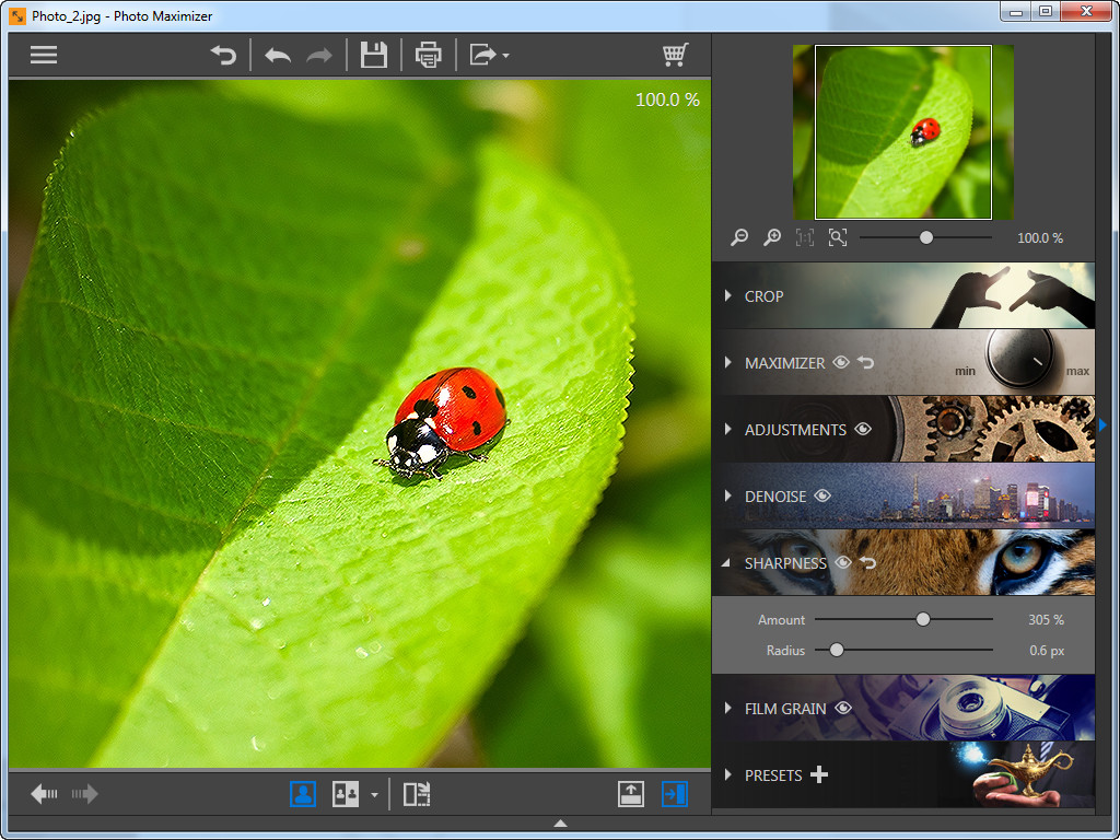 Use o Photo Maximizer para ampliar fotos - ajuste a nitidez