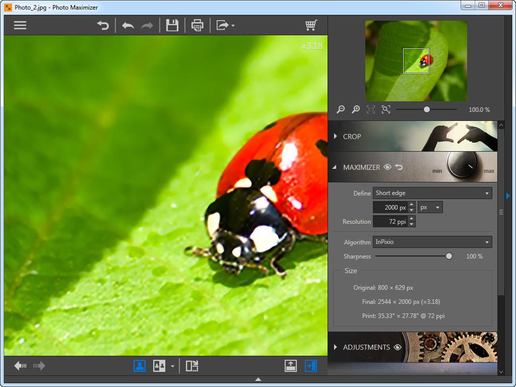 Use Photo Maximizer para ampliar fotos - borda curta