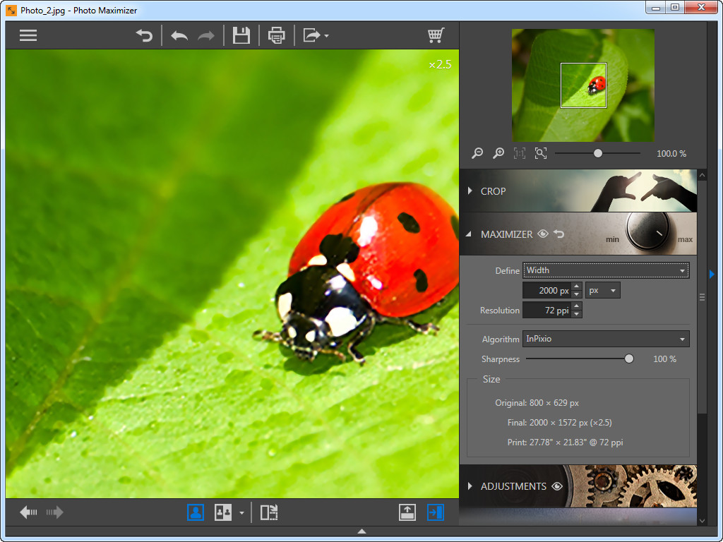 Use Photo Maximizer para ampliar fotos - Largura