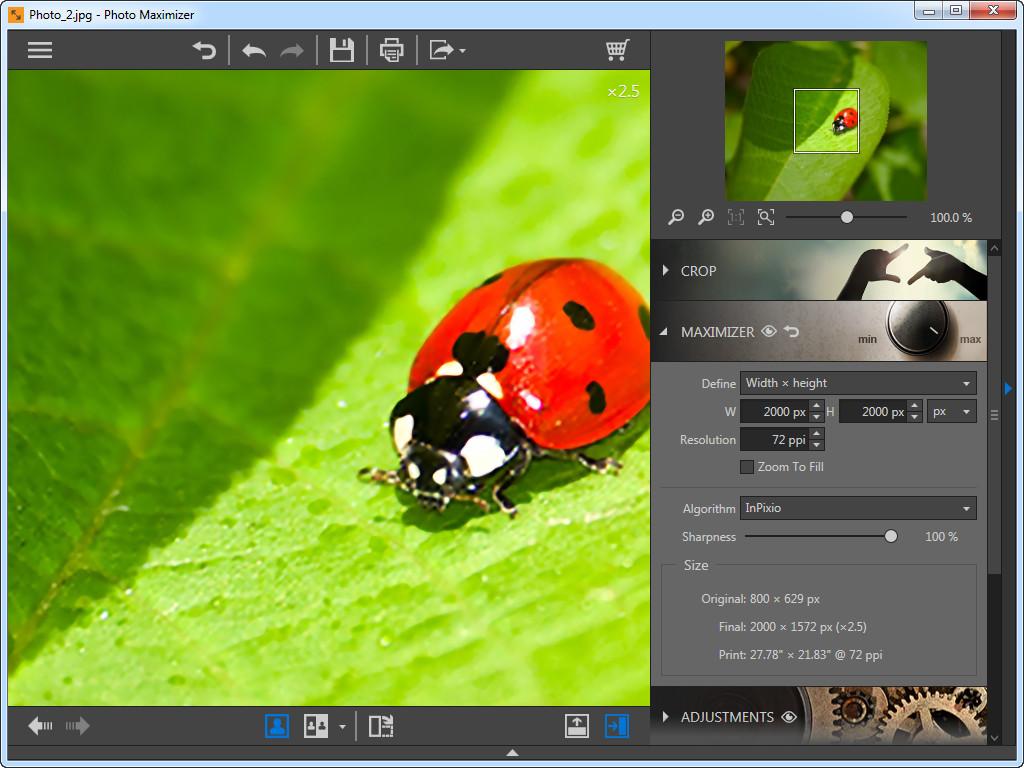 Use Photo Maximizer para ampliar fotos - Largura x altura
