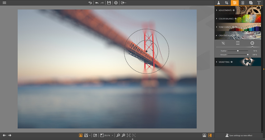 Make Adjustments on Photos - Radial Blur