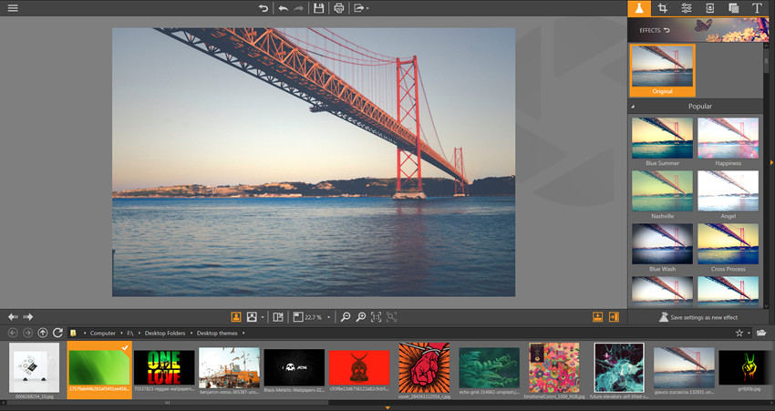 Apply Effects on Photos - Show and Hide Filmstrip