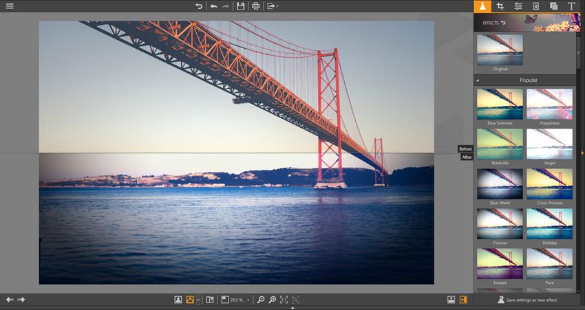Apply Effects on Photos - Horizontal Split View