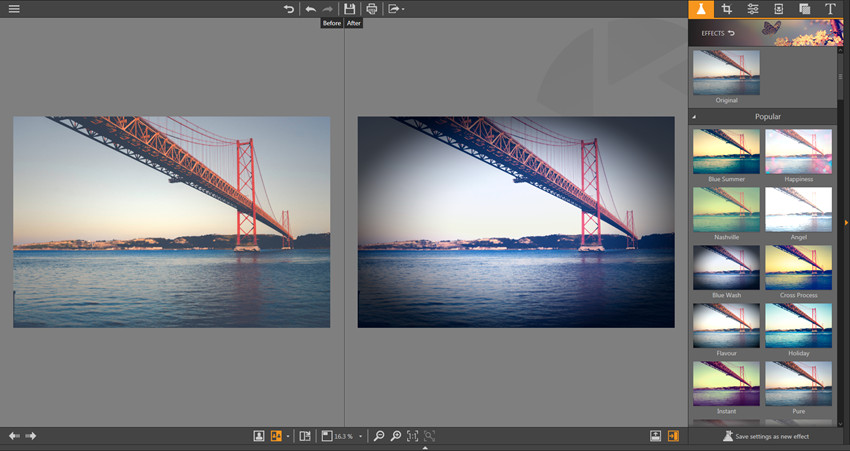 Apply Effects on Photos - Vertical Side-by-Side View