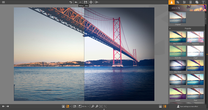 Apply Effects on Photos - Vertical Split View