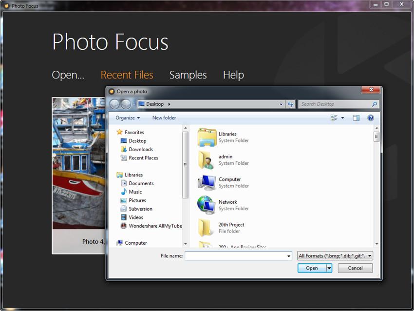 Creative Blur - Start Program and Add Photo