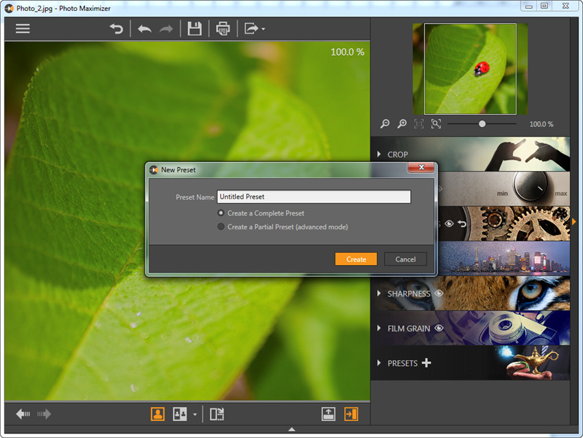 Presets in Fotophire Maximizer - Add Presets