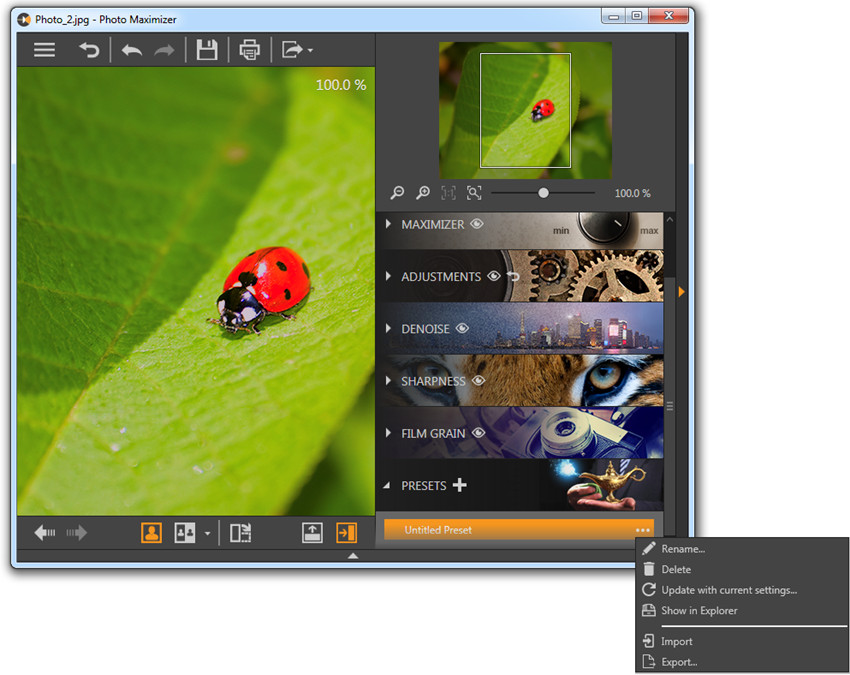 Presets in Fotophire Maximizer - Manage Presets