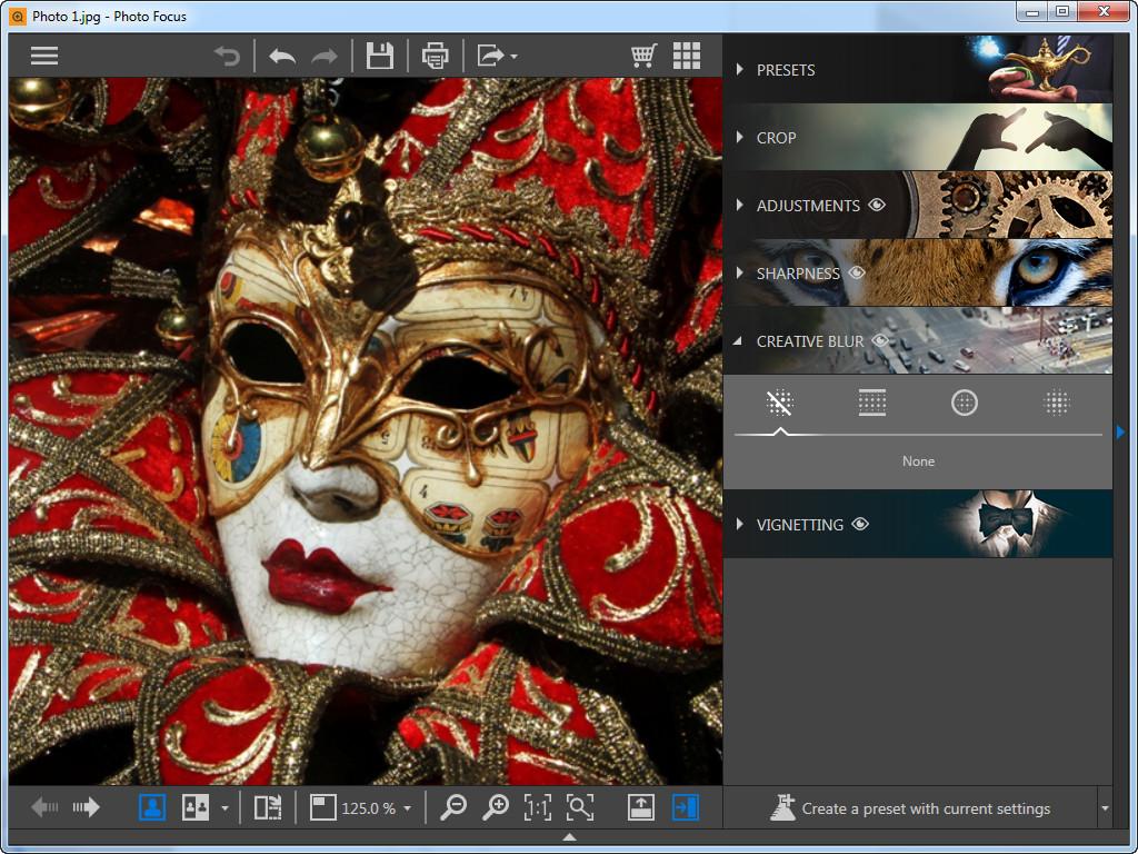 Utiliser le focus photo pour recentrer la photo - Sélectionner le flou créatif