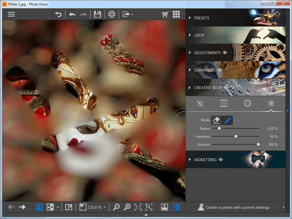 Utiliser Photo Focus pour recentrer la photo - Flou personnalisé
