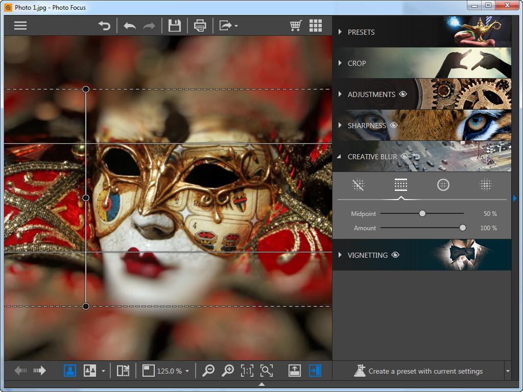 Utilisez Photo Focus pour recentrer la photo - flou linéaire