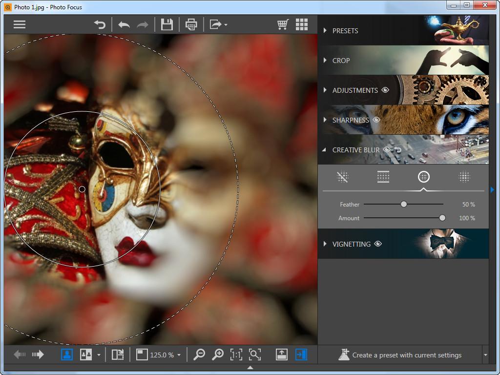 Photo Focus verwenden, um Fotos nachzufokussieren - Kreisförmige Weichzeichnung